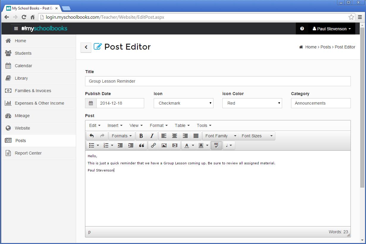 Post To Your Blog, Student Portal & Homepage Agenda!