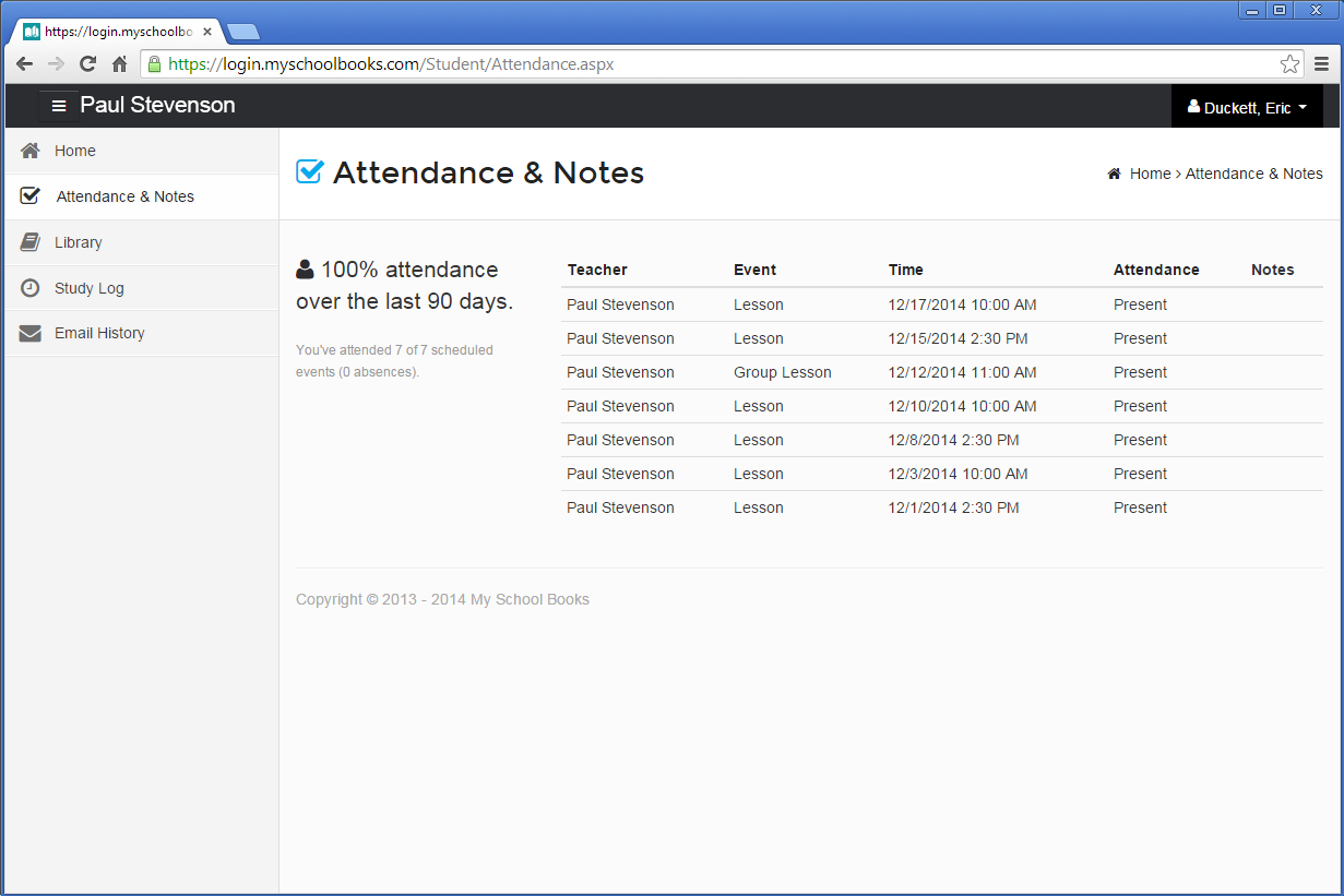 Student Attendance & Notes