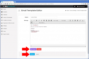 Customizing Email Template In My School Books - Step 3