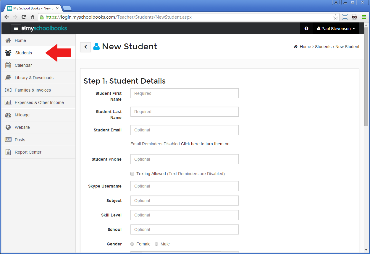 Getting Started With My School Books - Step 1: Add Students