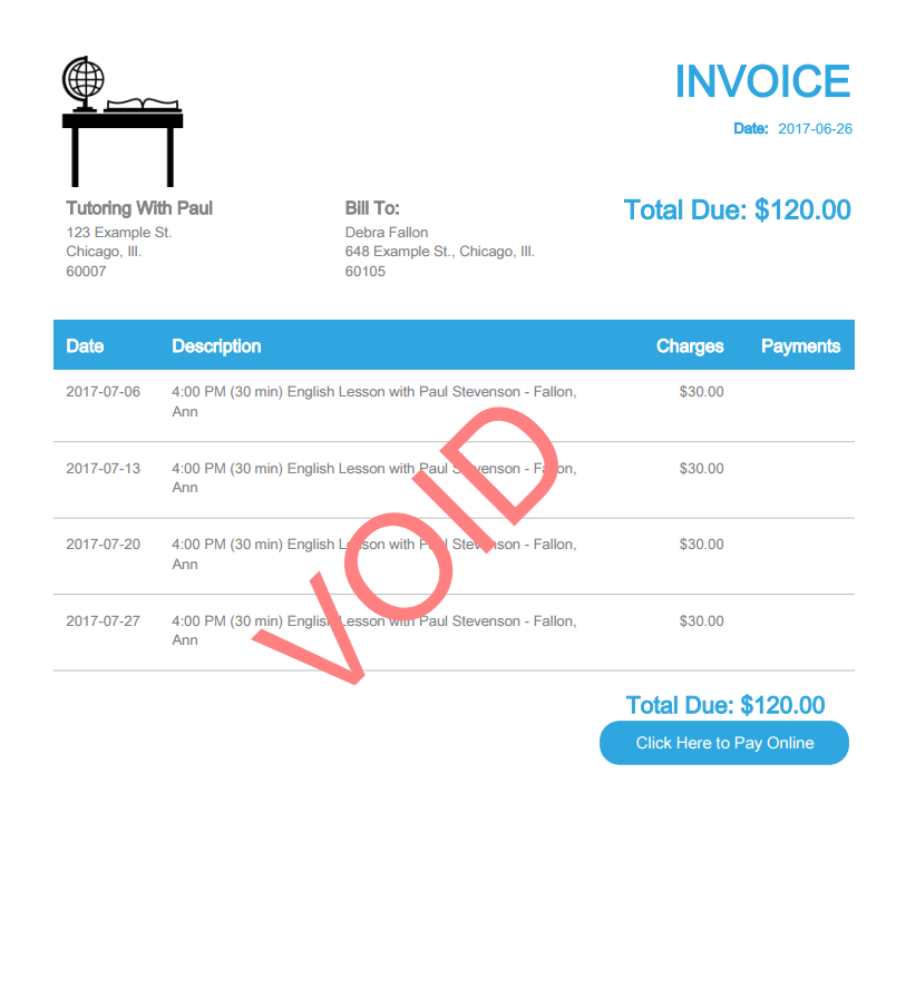 Null And Void Product Features My School Book - Accept invoice payments online